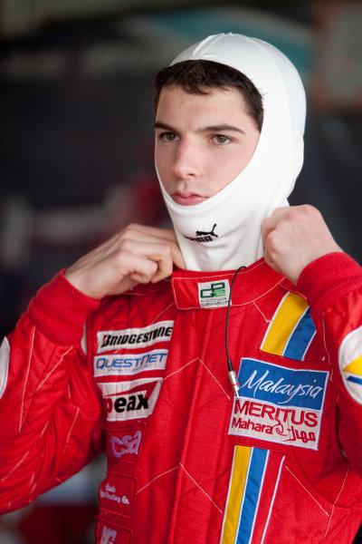 Bahrain International Circuit. Sakhir, Bahrain.Saturday Race. 13th March.Alexander Rossi (USA, Meritus). Portrait. World Copyright: Alastair Staley/GP2 Media Service.Ref: _O9T8750 jpg