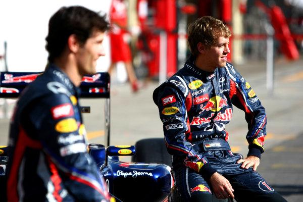 Interlagos, Sao Paulo, Brazil24th November 2011Sebastian Vettel, Red Bull Racing RB7 Renault, and Mark Webber, Red Bull Racing RB7 Renault. Portrait. World Copyright: Andy Hone/LAT Photographicref: Digital Image CSP26280