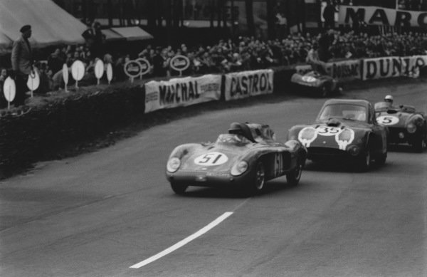 Le Mans, France. 12th - 13th June 1954 Helde/Jean Lucas (D B. HDR Renault), retired, leads Peter S. Wilson/Jim Mayers (Bristol 450), 7th position, action. World Copyright: LAT Photographic Ref: 194 - 10.