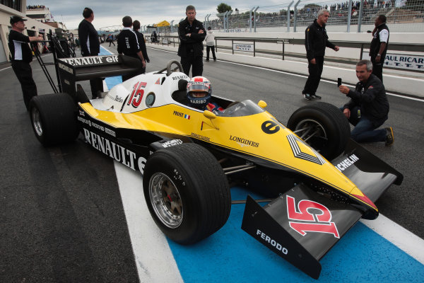 PAUL RICARD (FRA) SEP 16-18 2011 - Round 6 of the Formula Renault 3 5 race 2011 at Paul Ricard. Alain Prost in the 1982 Renault RE40 F1 car. Action. © 2011 Diederik van der Laan / LAT Photographic