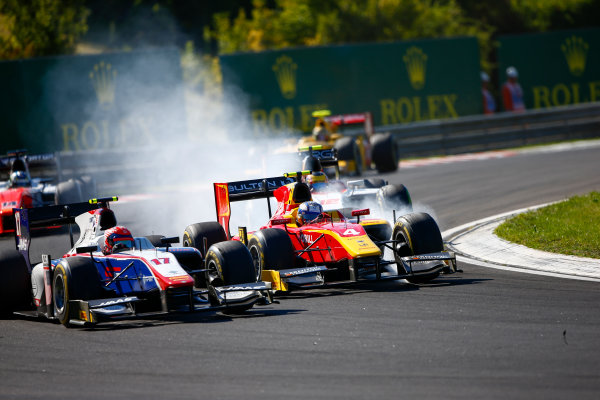 Hungaroring, Budapest, Hungary. Saturday 29 July 2017 Raffaele Marciello (ITA, Trident). and Gustav Malja (SWE, Racing Engineering).  Photo: Hone/FIA Formula 2 ref: Digital Image _ONZ9810