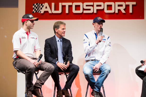 Autosport International Exhibition. National Exhibition Centre, Birmingham, UK. Thursday 8 January 2015. Malcolm Wilson, Elfyn Evans and Sander Pam on the Autosport stage. World Copyright: Zak Mauger/LAT Photographic. ref: Digital Image _L0U2378