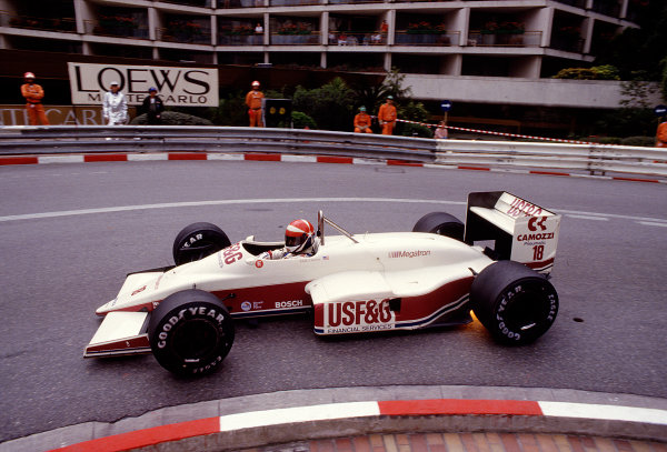 1987 Monaco Grand Prix. Monte Carlo, Monaco. 28th - 31st May 1987.  Eddie Cheever (Arrows A10 Megatron) at Loews Hairpin, action. Ref-87 MON 49.World Copyright - LAT Photographic