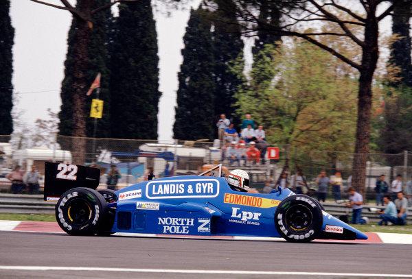 1987 San Marino Grand Prix.Imola, Italy.1-3 May 1987.Gabriele Tarquini (Osella FA1G Alfa Romeo).Ref-87 SM 26.World Copyright - LAT Photographic