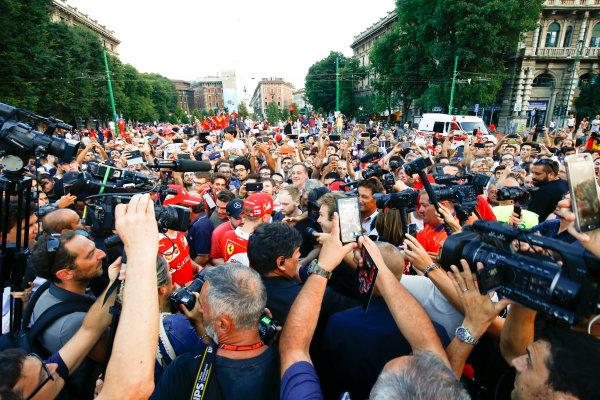 Autodromo Nazionale di Monza, Italy. Thursday 31 August 2017. Kimi Raikkonen, Ferrari, at the parade in Milan. World Copyright: Andy Hone/LAT Images  ref: Digital Image _ONY4973