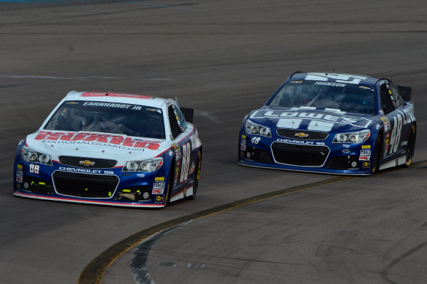 March 1-3, 2013 Avondale, Arizona USA Dale Earnhardt Jr and Jimmie Johnson cars.(c) 2013, Brian Czobat LAT Photo USA .