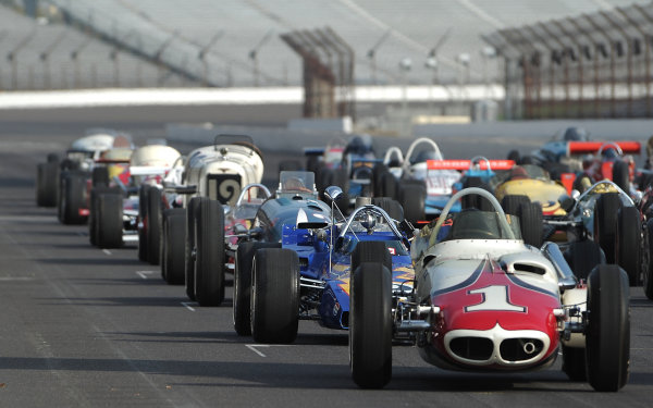 12 October, 2010, Indianapolis, Indiana, USA33 Historic cars representing the 100 year history of the Indy 500 are gathered on the grid of the Indianapolis Motor Speedway©2010, Dan R. Boyd, USALAT Photographic