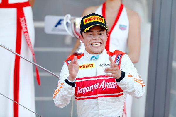 2017 FIA Formula 2 Round 3. Monte Carlo, Monaco. Saturday 27 May 2017. Nyck De Vries (NED, Rapax) celebrates on the podium after winning the race. World Copyright: Glenn Dunbar/FIA Formula 2 ref: Digital Image _31I9693