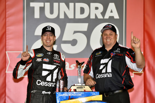 NASCAR Camping World Truck Series Toyota Tundra 250 Kansas Speedway, Kansas City, KS USA Friday 12 May 2017 Kyle Busch, Cessna Toyota Tundra celebrates his win in Victory Lane World Copyright: Nigel Kinrade LAT Images ref: Digital Image 17KAN1nk07233