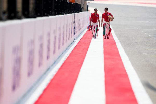 2017 FIA Formula 2 Round 1. Bahrain International Circuit, Sakhir, Bahrain.  Thursday 13 April 2017. Class photo on the grid. Photo: Sam Bloxham/FIA Formula 2. ref: Digital Image _W6I7613