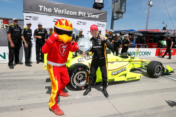 9-10 July, 2016, Newton, Iowa USA Verizon P1 Pole Award winner Simon Paganaud with the Firestone Firehawk ?2016, Michael L. Levitt LAT Photo USA