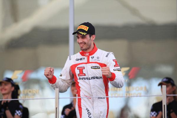 2013 GP3 Championship, Round 8. Yas Marina Circuit, Abu Dhabi, United Arab Emirates. Tio Ellinas (CYP, Marussia Manor Racing), celebrates his win 3rd November, 2013. Sunday Race Two. World Copyright: Sam Bloxham/LAT Photographic. ref: Digital Image IMG_8746