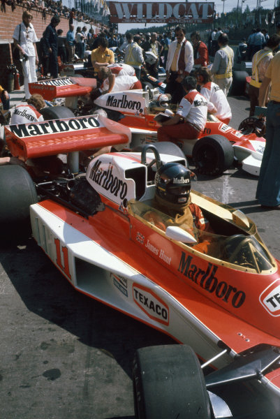 Zolder, Belgium. 14th - 16th May 1976. James Hunt (McLaren M23-Ford), retired, in the pit lane, portrait.  World Copyright: LAT Photographic.  Ref: 76 BEL 25.