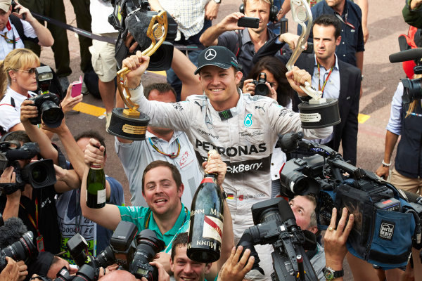 Monte Carlo, Monaco. Sunday 25 May 2014. Nico Rosberg, Mercedes AMG, 1st Position, and the Mercedes team celebrate victory. World Copyright: Steve Etherington/LAT Photographic. ref: Digital Image SNE12326 copy