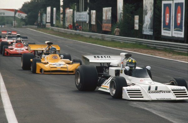 1973 Belgian Grand Prix.  Zolder, Belgium. 18-20th May 1973.  Wilson Fittipaldi, Brabham BT42 Ford, leads Mike Beuttler, March 731 Ford, Jean-Pierre Jarier, March 731 Ford, and Chris Amon, Tecno PA123B.  Ref: 73BEL21. World Copyright: LAT Photographic