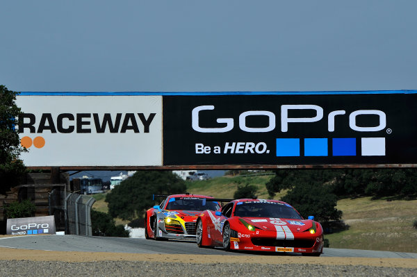 3-4 May, 2014, Monterey, California, USA 64, Ferrari, 458 Italia, GTD, Stefan Johansson, Kyle Marcelli, 45, Audi, R8 LMS, GTD, Nelson Canache Jr, Spencer Pumpelly ©2014 Scott R LePage  LAT Photo USA