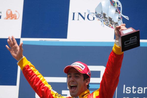 Sunday Race. 7th June 2009. Lucas Di Grassi (BRA, Fat Burner Racing Engineering) celebrates his victory on the podium. World Copyright: Glenn Dunbar/ GP2 Series Media Service.Ref: _MG_0112 jpg