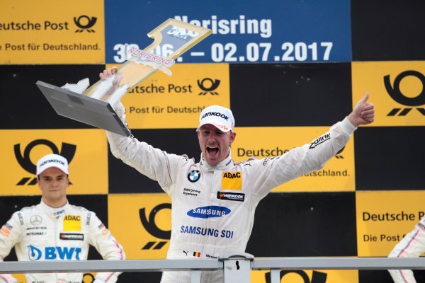 2017 DTM Round 4 Norisring, Nuremburg, Germany Sunday 2 July 2017. Podium: Race winner Maxime Martin, BMW Team RBM, BMW M4 DTM World Copyright: Alexander Trienitz/LAT Images ref: Digital Image 2017-DTM-R3-NOR-AT1-3789