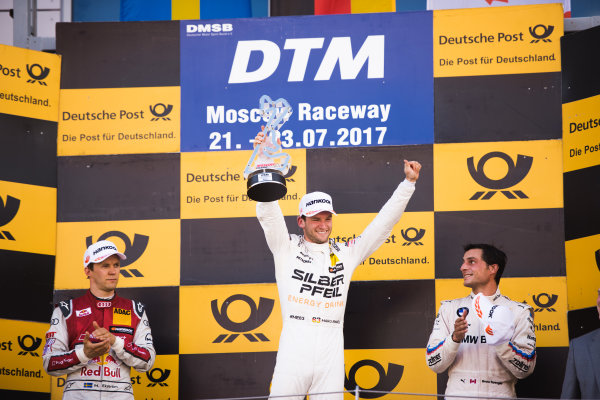2017 DTM Round 5 Moscow Raceway, Moscow, Russia Sunday 23 July 2017. Podium: Race winner Maro Engel, Mercedes-AMG Team HWA, Mercedes-AMG C63 DTM, second place Mattias Ekström, Audi Sport Team Abt Sportsline, Audi A5 DTM, third place Bruno Spengler, BMW Team RBM, BMW M4 DTM World Copyright: Evgeniy Safronov/LAT Images ref: Digital Image SafronovEvgeniy_2017_DTM_MRW_San-192