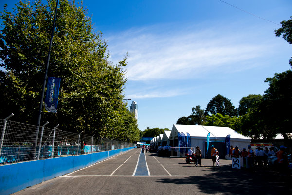 2015/2016 FIA Formula E Championship. Buenos Aires ePrix, Buenos Aires, Argentina. Friday 5 February 2016. A view of the pit lane. Photo: Zak Mauger/LAT/Formula E ref: Digital Image _L0U9679