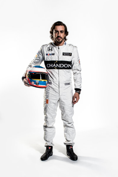 McLaren Honda MP4-31 Reveal. Woking, UK. Thursday 18 February 2016. Fernando Alonso, McLaren. Photo: McLaren (Copyright Free FOR EDITORIAL USE ONLY) ref: Digital Image Fernando Alonso Full Length Portrait