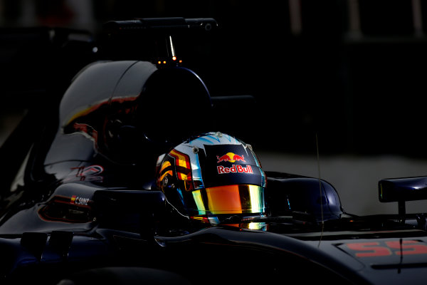 Circuit de Catalunya, Barcelona, Spain Monday 22 February 2016. Carlos Sainz Jr, Toro Rosso STR11 Ferrari, in the pit lane. World Copyright: Glenn Dunbar/LAT Photographic ref: Digital Image _W2Q0970