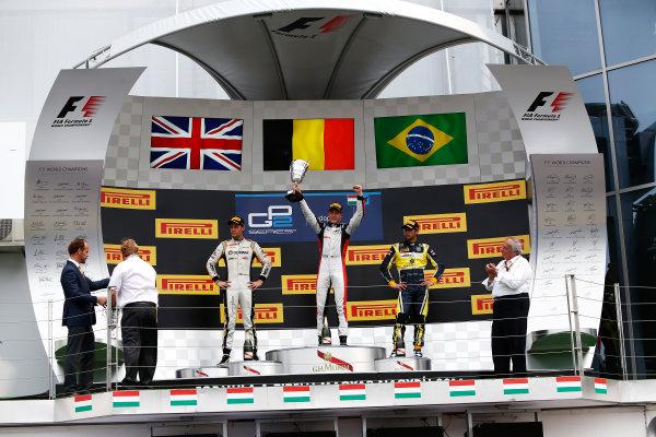2014 GP2 Series Round 7. Hungaroring, Budapest, Hungary. Sunday 27 July 2014. Stoffel Vandoorne (BEL, ART Grand Prix), Jolyon Palmer (GBR, DAMS) & Felipe Nasr (BRA, Carlin)  Photo: Sam Bloxham/GP2 Series Media Service. ref: Digital Image _SBL9489