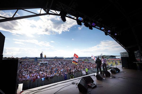 Silverstone, Northamptonshire, England. Sunday 6 July 2014. Lewis Hamilton, Mercedes AMG, on stage. World Copyright: Steve Etherington/LAT Photographic. ref: Digital Image SNE10002