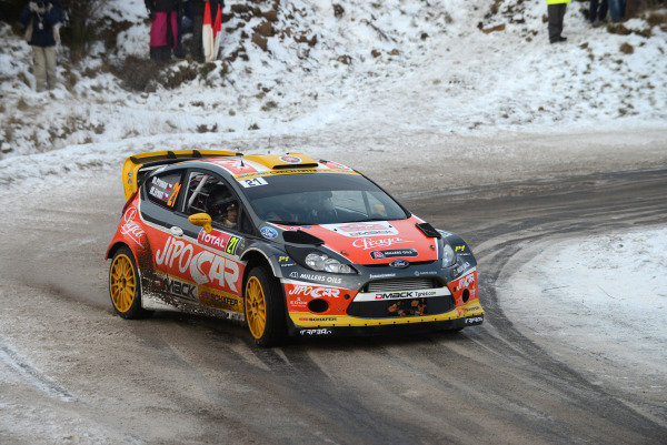 Martin Prokop (CZE) and Michal Ernst (CZE), Ford Fiesta RS WRC on stage 1. FIA World Rally Championship, Rd1, Rally Monte Carlo, Day One, Monte Carlo, 16 January 2013.