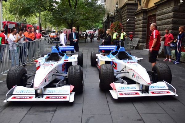Swisse F1 Two seater cars at Melbourne Town Hall. Formula One World Championship, Rd1, Australian Grand Prix, Preparations, Albert Park, Melbourne, Australia, Tuesday 11 March 2014.