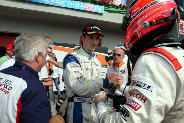 Race 2 winner Alexander Rossi (USA), ISR, left, congratulates Josef Kral (CZE), JD Motorsport, right.