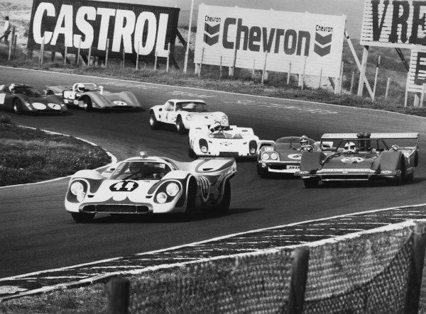 Zandvoort, Holland. 20th September 1970Gijs van Lennep (Porsche 917K), 1st position, leads Helmut Kelleners (March 707-1 Chevrolet), 2nd position, action. World Copyright: LAT Photographic.Ref:  B/WPRINT.