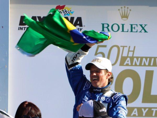 26-29 January, 2012, Daytona Beach, Florida USAOswaldo Negri waves the Brasilian flag in Victory Lane following the Rolex 24 at Daytona.(c)2012, R D. EthanLAT Photo USA