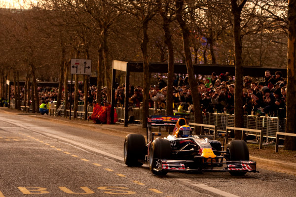 Milton Keynes.  Saturday 10th December 2011.Mark Webber, Red Bull Racing RB7 Renault in action during the Red Bull Racing home run.Photo: Alastair Staley/LAT Photographic.Ref: Digital Image _O9T5324 jpg