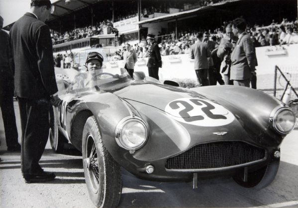 1955 Sportscar Race.Spa-Francorchamps, Belgium. 5th June 1955.Paul Frere, Aston Martin, sits in his car on the grid. This race was a support to the Belgian Grand Prix.World Copyright; LAT Photographic.ref: Published Autocar 13/6/1955.