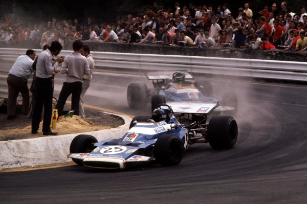 1970 Belgian Grand Prix.Spa-Francorchamps, Belgium.5-7 June 1970.Jean-Pierre Beltoise leads Henri Pescarolo (both Matra-Simca MS120). They finished in 3rd and 6th positions respectively.Ref-70 BEL 14.World Copyright - LAT Photographic