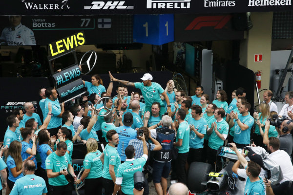 Lewis Hamilton, Mercedes AMG F1 and the Mercedes-AMG F1 team celebrate clinching the Constructors Championship