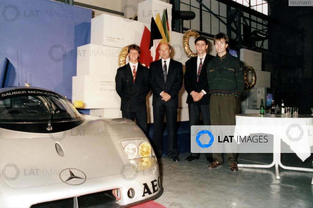 Left to right: Michael Schumacher, Peter Sauber, Karl Wendlinger and Heinz-Harald Frentzen at the announcement of the 1990 Sauber-Mercedes-Benz Young Drivers.
