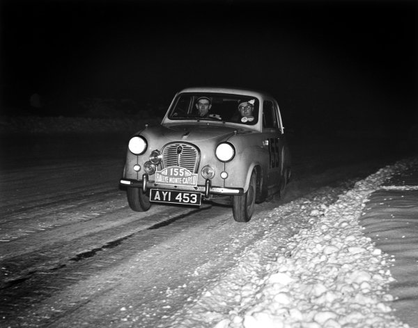1958 Monte Carlo Rally.Monte Carlo, Monaco. 22-28 January 1958.J Millar/D Reynolds, Austin A35, at night on the opening stages in the Scottish Moors, action.World Copyright: LAT PhotographicRef: C50646