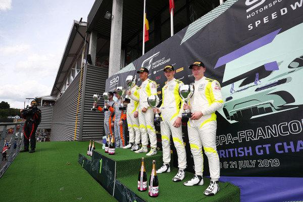 GT4 Silver Podium (l-r) Jordan Collard / Lewis Proctor Tolman Motorsport McLaren 570S GT4 , Tom Canning / Ashley Hand TF Sport Aston Martin V8 Vantage GT4 , Patrick Kibble / Josh Price TF Sport Aston Martin V8 Vantage GT4
