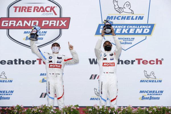 #25 BMW Team RLL BMW M8 GTE, GTLM: Connor De Phillippi, Bruno Spengler, podium