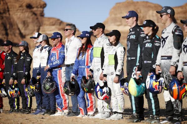 (L-R) Sebastien Loeb (FRA), X44, Timmy Hansen (SWE), Andretti United Extreme E, Catie Munnings (GBR), Andretti United Extreme E, Kyle Leduc (USA), Segi TV Chip Ganassi Racing, Alejandro Agag, CEO, Extreme E, Sara Price (USA), Segi TV Chip Ganassi Racing, Stephane Sarrazin (FRA), Veloce Racing, Jamie Chadwick (GBR), Veloce Racing, Johan Kristoffersson (SWE), Rosberg X Racing, Molly Taylor (AUS), Rosberg X Racing, and Mattias Ekstrom (SWE), ABT CUPRA XE