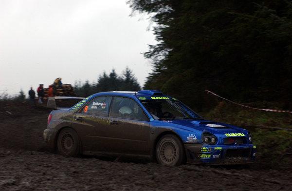2001 FIA World Rally Championship.Rally of Great Britain. Cardiff, Wales. November 22-25, 2001.Petter Solberg during shakedown.Photo: Ralph Hardwick/LAT
