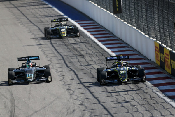 SOCHI AUTODROM, RUSSIAN FEDERATION - SEPTEMBER 29: Bent Viscaal (NLD, HWA RACELAB) and Felipe Drugovich (BRA, Carlin Buzz Racing) during the Sochi at Sochi Autodrom on September 29, 2019 in Sochi Autodrom, Russian Federation. (Photo by Joe Portlock / LAT Images / FIA F3 Championship)