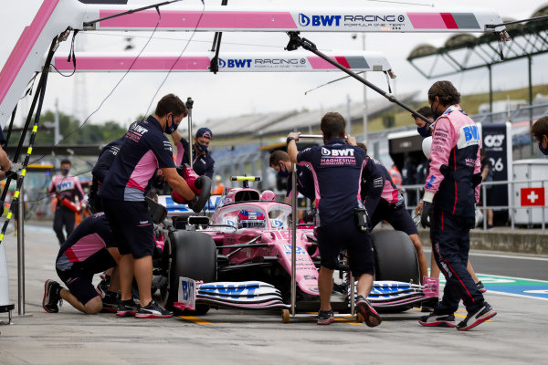 Lance Stroll, Racing Point RP20, in the pits during practice