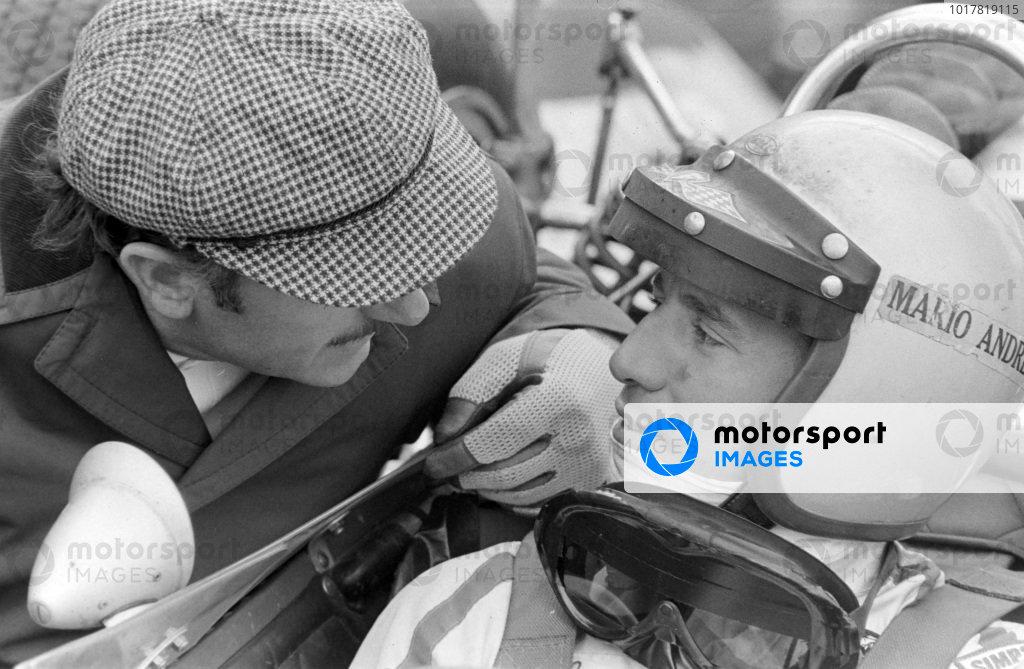 Mario Andretti with Colin Chapman.