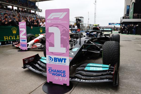 Valtteri Bottas, Mercedes W12, 1st position, arrives in Parc Ferme