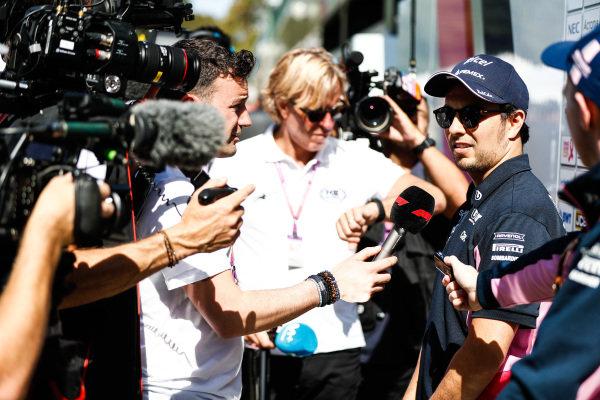Sergio Perez, Racing Point talks to the press