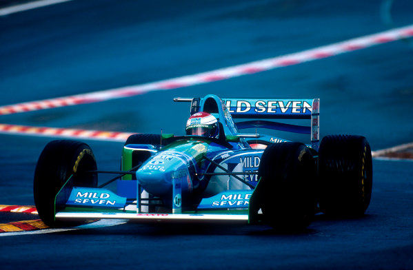 1994 Belgian Grand Prix.Spa-Francorchamps, Belgian.26-28 August 1994.Jos Verstappen (Benetton B194 Ford) 3rd position at the reformed Eau Rouge.Ref-94 BEL 02.World Copyright - LAT Photographic