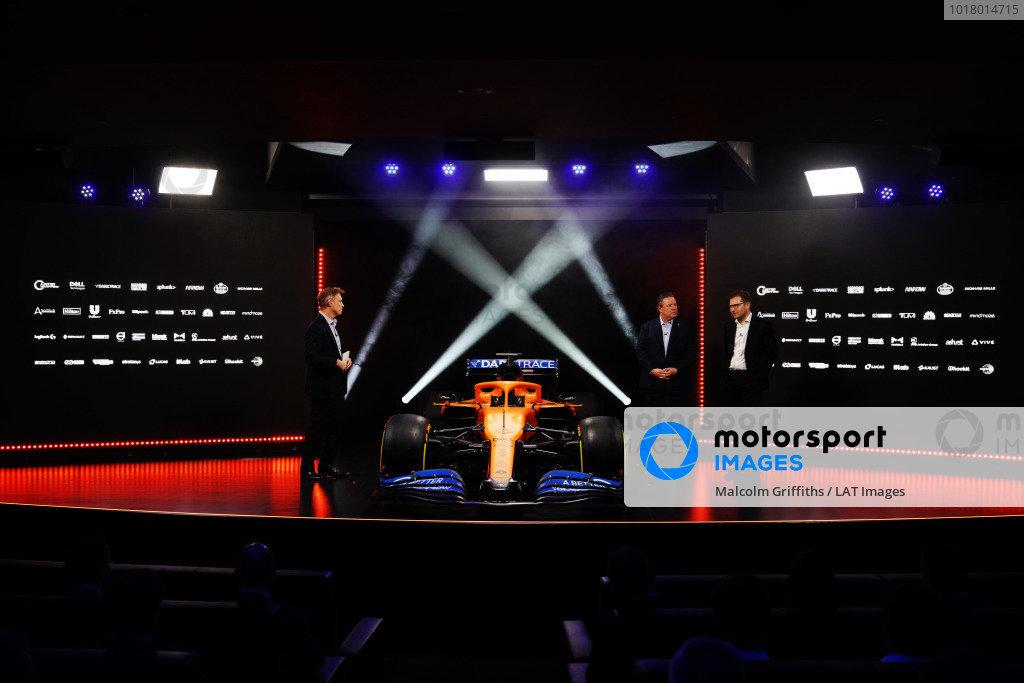 Simon Lazenby, Sky TV, Zak Brown, CEO, McLaren Racing, and Andreas Seidl, Team Principal, McLaren, at the launch of the McLaren MCL35